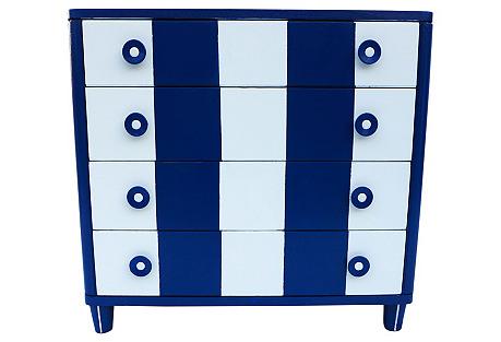 Blue & White Four-Drawer Dresser