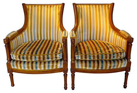 Striped Armchairs, Pair