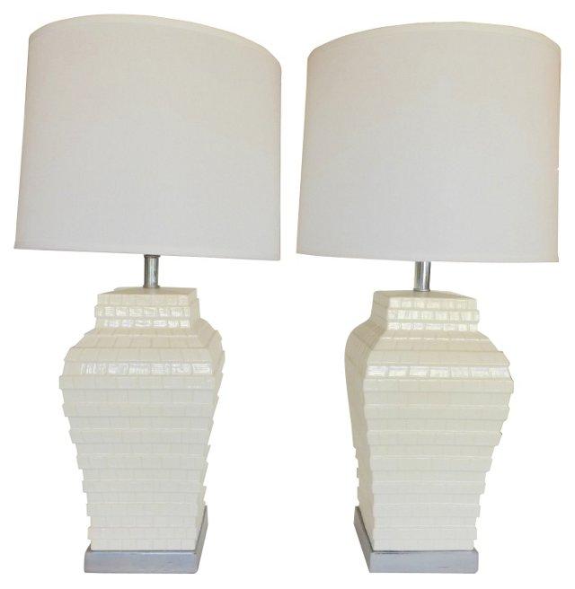 Architectural Ceramic Lamps, Pair