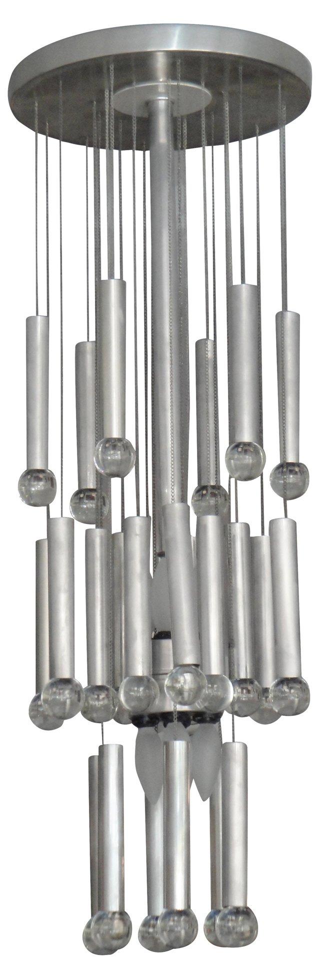 Sciolari Aluminum & Glass Chandelier