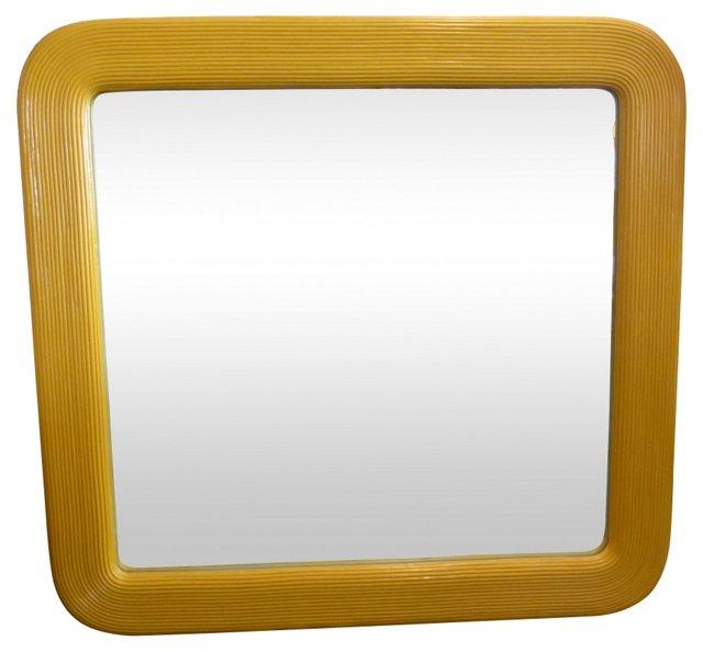 Yellow Rattan Mirror