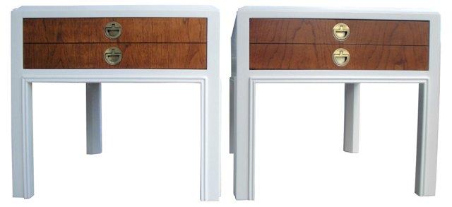 Drexel Asian-Inspired Nightstands, Pair