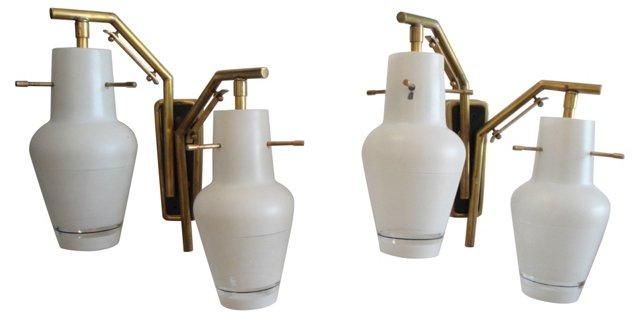 Italian Brass Sconces, Pair