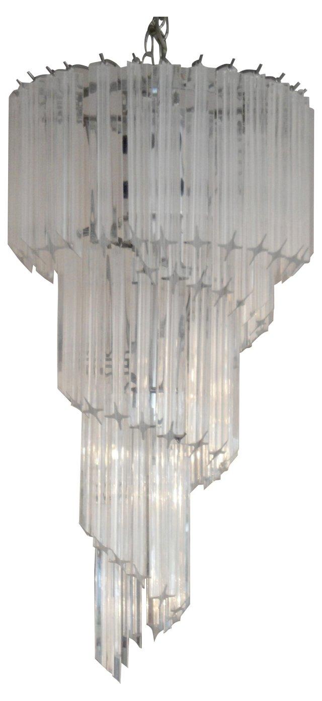 Spiral Lucite Chandelier