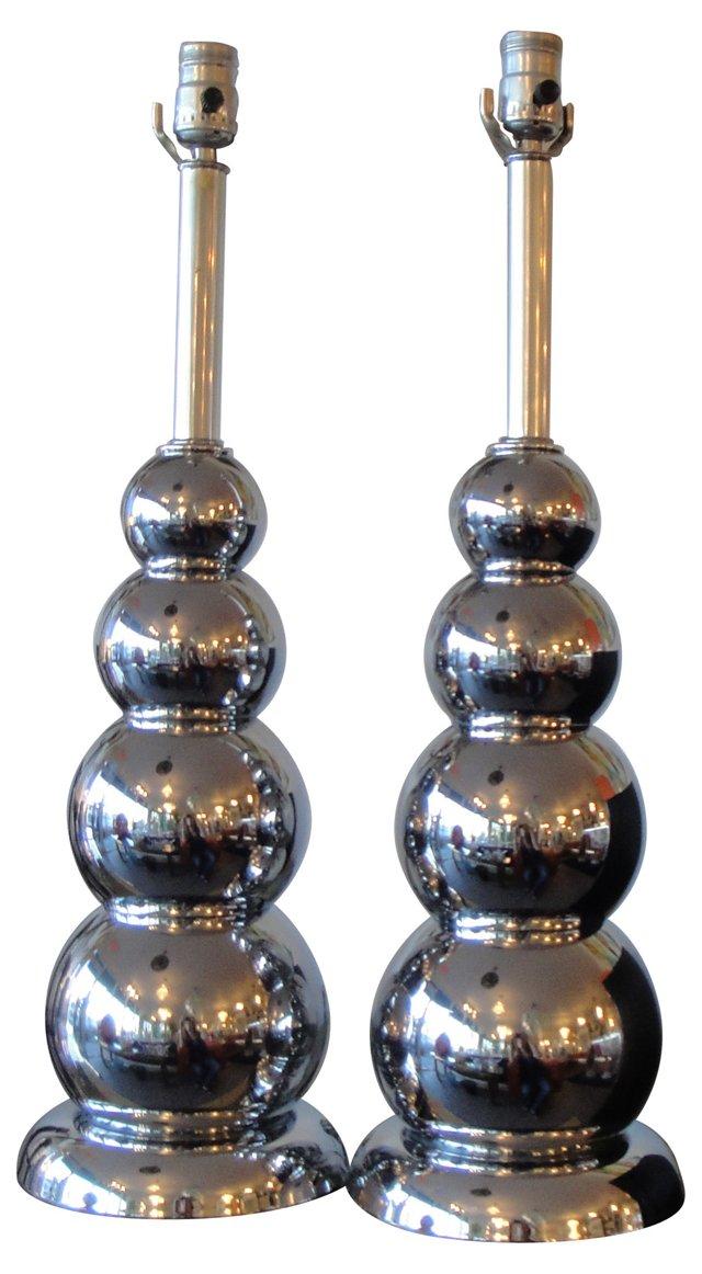 Chromed Glass Lamps, Pair