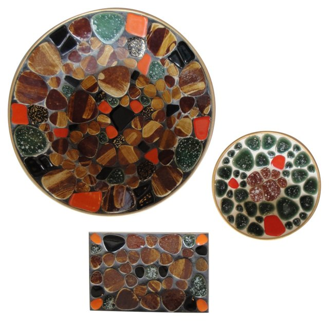 Colorful Mosaic Plates, S/3