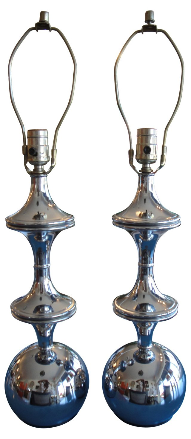 Midcentury Chrome Lamps, Pair