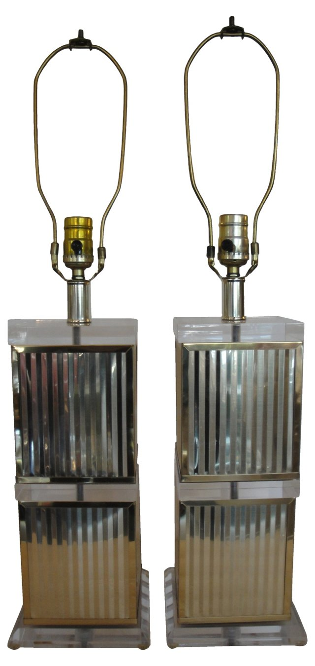 Lucite & Brass Lamps, Pair