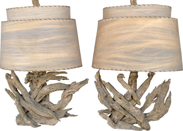 1950s Driftwood Lamps, Pair
