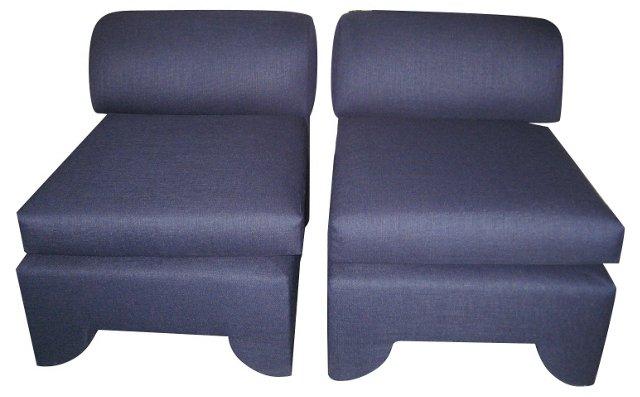 Blue Navy Slipper Chairs, Pair