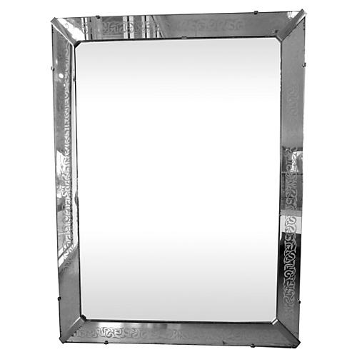 Midcentury Etched Frame Mirror