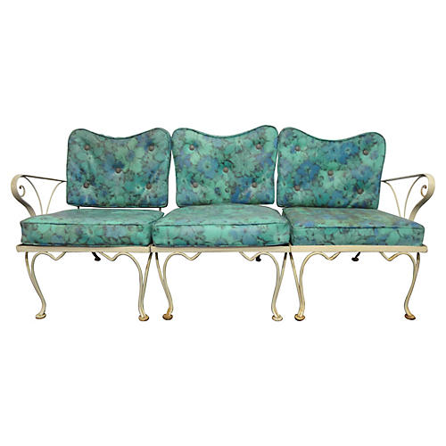 1950s Iron Outdoor Settee