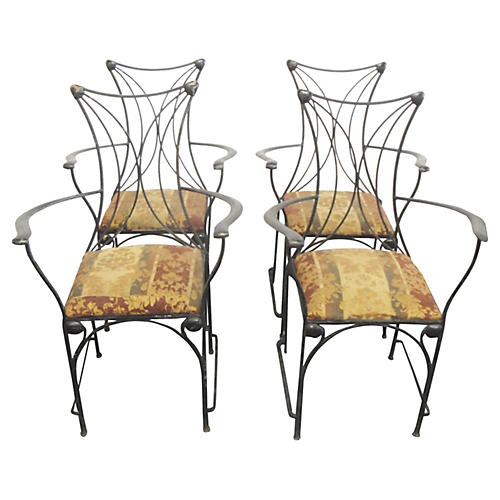 Iron Armchairs w/ Shell Details, S/4