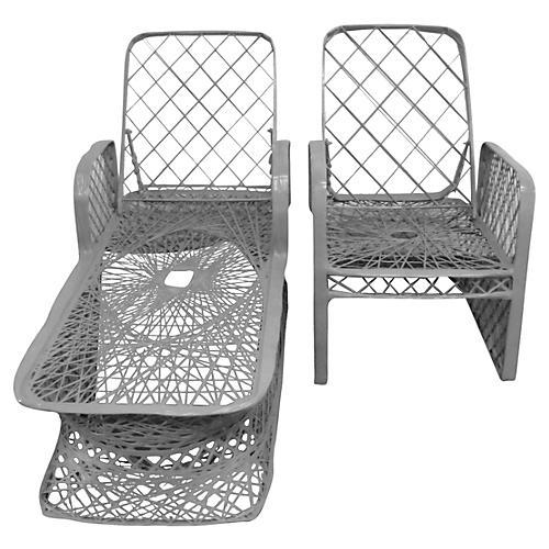 Spun Chaise Longue & Armchair, S/2