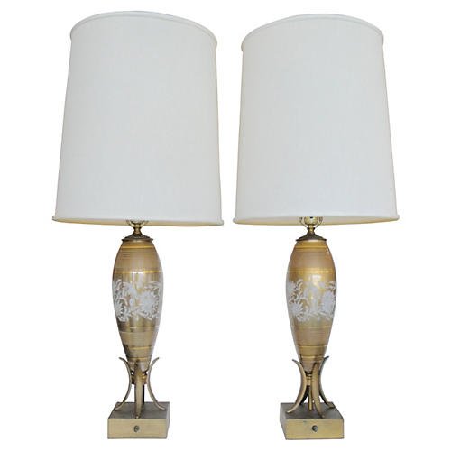 Painted Glass & Metal Table Lamps