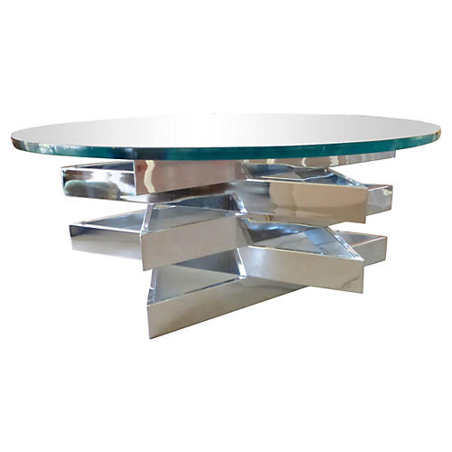 3-Level Chrome Star Coffee Table