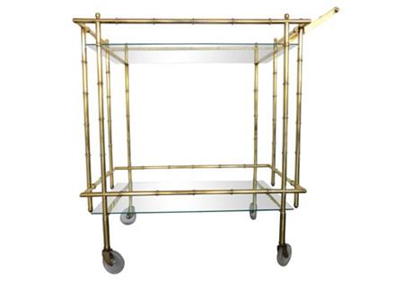 Brass Bamboo-Style Bar Cart