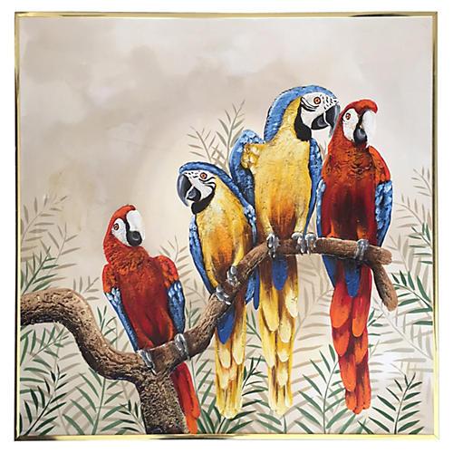 Four Parrots Oil Painting