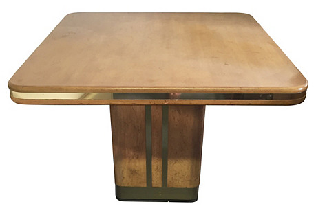Wood & Brass Square Dining Table