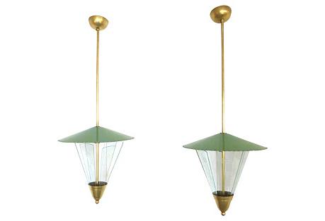 Midcentury Italian Pendants, Pair