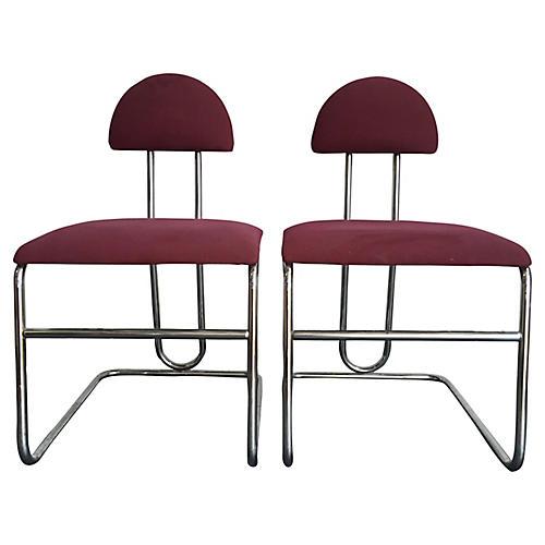Bordeaux Chrome Chairs, Pair