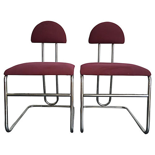 Bordeaux Chrome Chairs, Pair