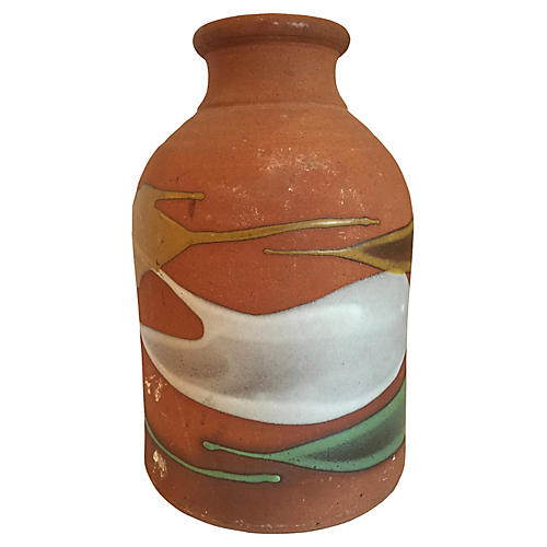 Large Partially Glazed Pottery Bottle