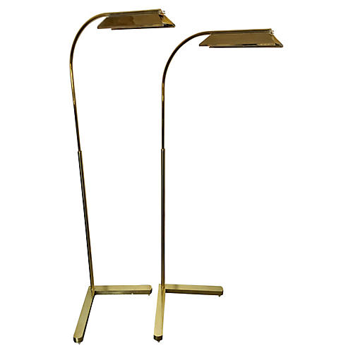 Brass Floor Lamps by Casella, Pair