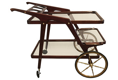 1950s Italian Wood & Brass Bar Cart