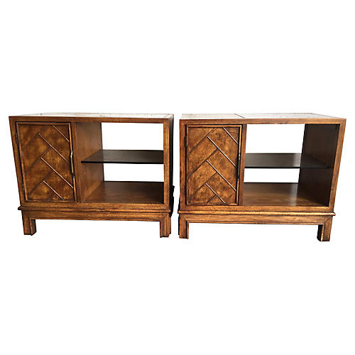 Wood & Glass Side Tables, Pair