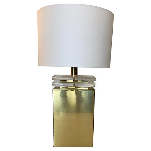 Brass & Lucite Table Lamp