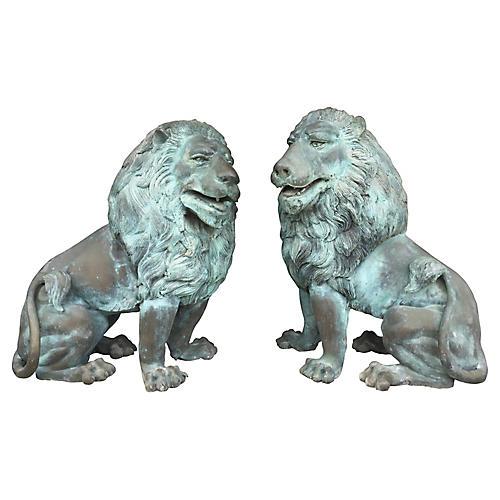 Oversize Bronze Lions, Pair