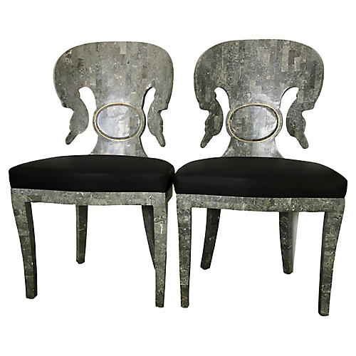 Tessellated Stone Side Chairs, Pair