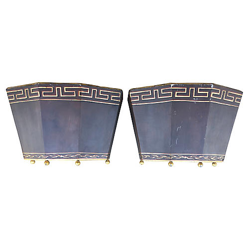 Greek Key Planter Covers, Pair