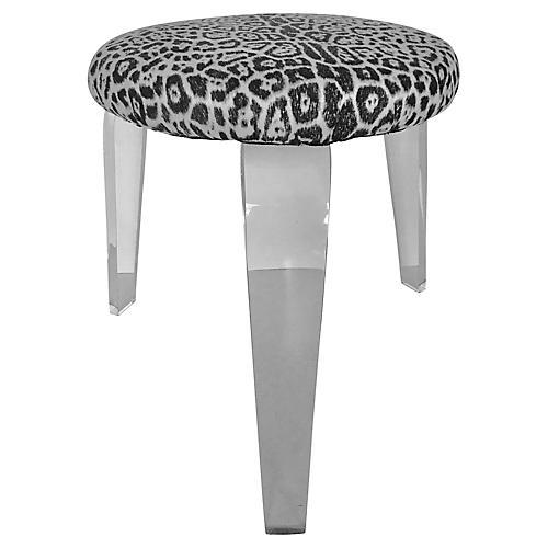 Leopard Design Stool w/ Lucite Legs