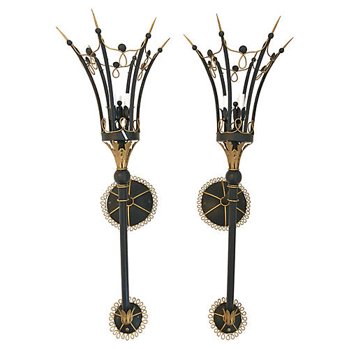 Monumental Italian Sconces, Pair