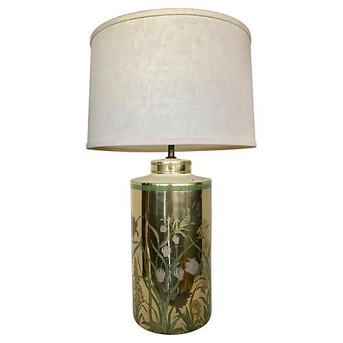 Large Ceramic Gold Lamp w/ Flowers