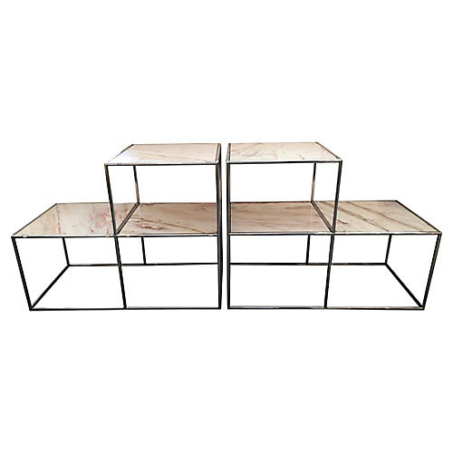 Chrome & Marble Side Tables, S/2