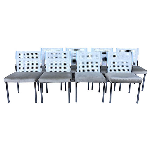 Faux-Cane & Chrome Dining Chairs, S/8