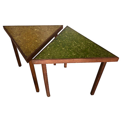 2 Triangular With Resin Top Side Tables
