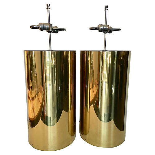 Large Brass Lamps, Pair