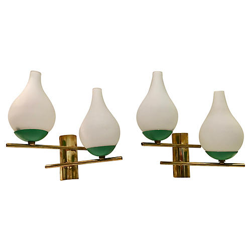 Italian Brass, Metal & Glass Sconces, Pr