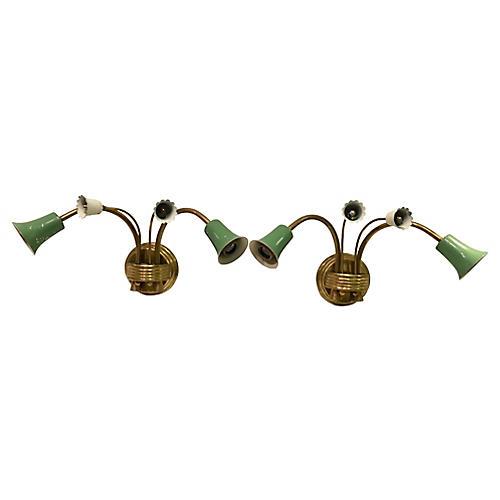 Italian Brass & Metal Sconces, Pair