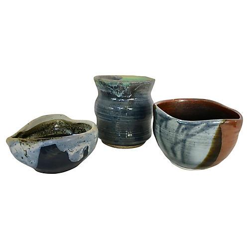 Studio Pottery Bowls & Vase, S/3
