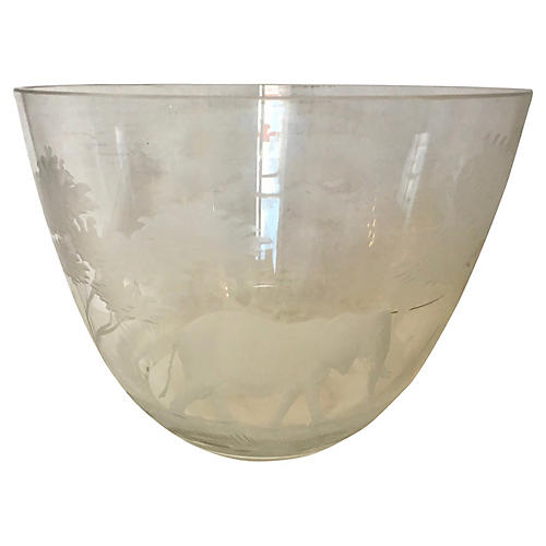Etched African Animals Bowl