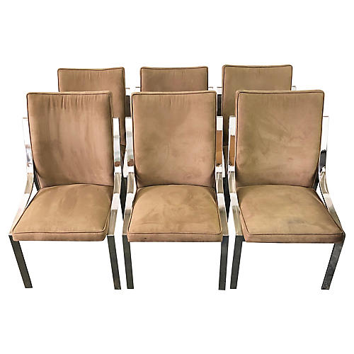 Faux-Suede & Chrome Dining Chairs, S/6