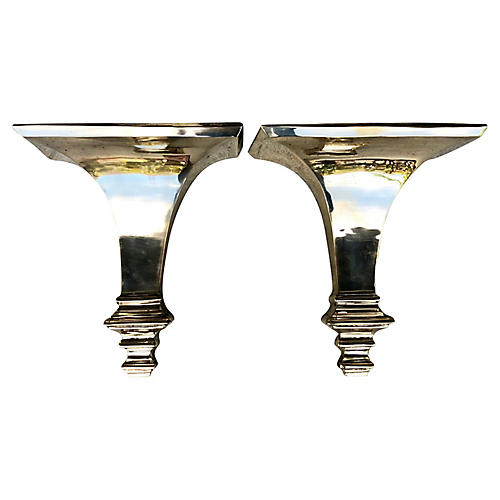 Neoclassical Brass Shelves, Pair