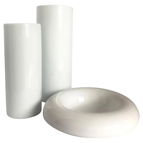Midcentury White Ceramic Set, 3 Pcs