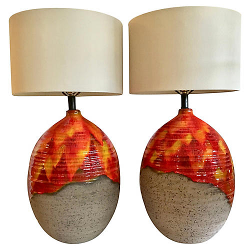 Drip Glaze Table Lamps, Pair
