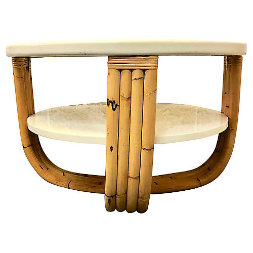 Wood & Bamboo Side Table
